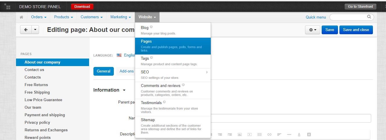 navigating CS Cart Website