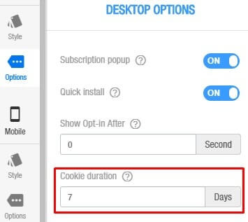 set cookie duration for push opt-in in desktop