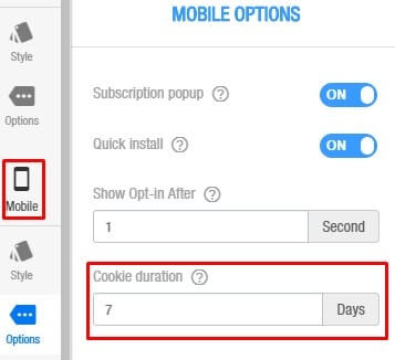 set cookie duration for push opt-in in mobile