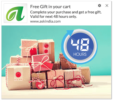 offer gift in abandoned cart notification template