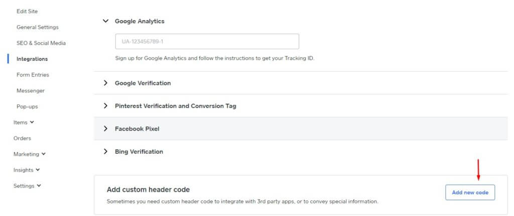 customer header code in Weebly