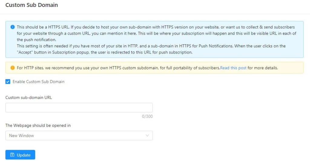 custom sub-domain setting in push notification