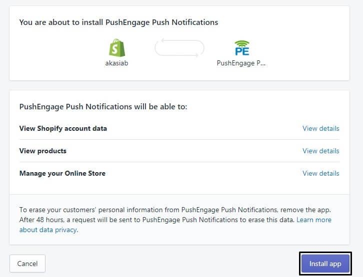 installing PushEngage Shopify App