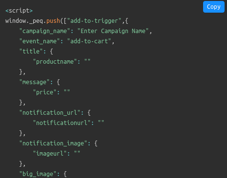 Cart abandonment software code snippet
