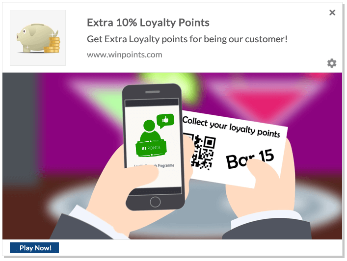 Web Push Notification Ideas: Extra Loyalty Points