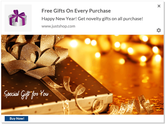 Web Push Notification Ideas: Free Gifts On Every Purchase