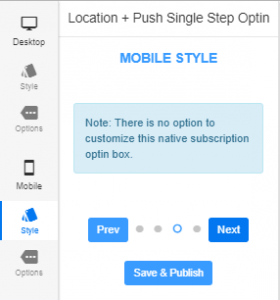 location in push opt-in in mobile