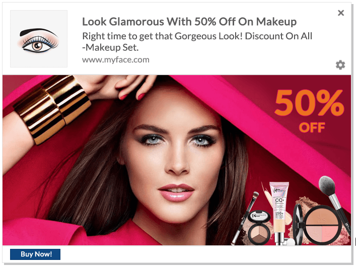 Web Push Notification Ideas: Offer On Beauty Products