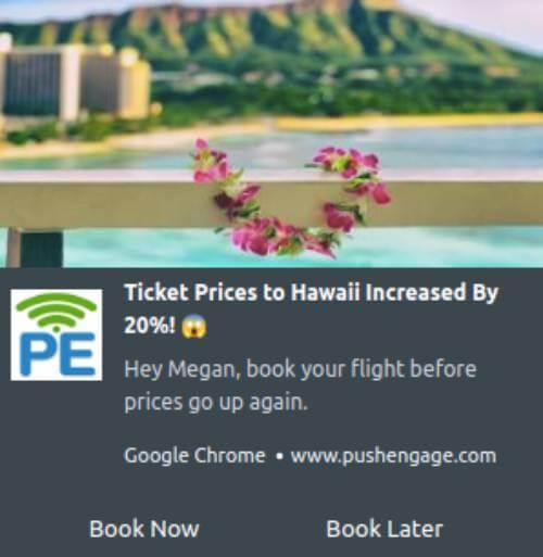 Flight ticket price increase notification
