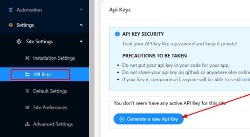 Generate New API Key