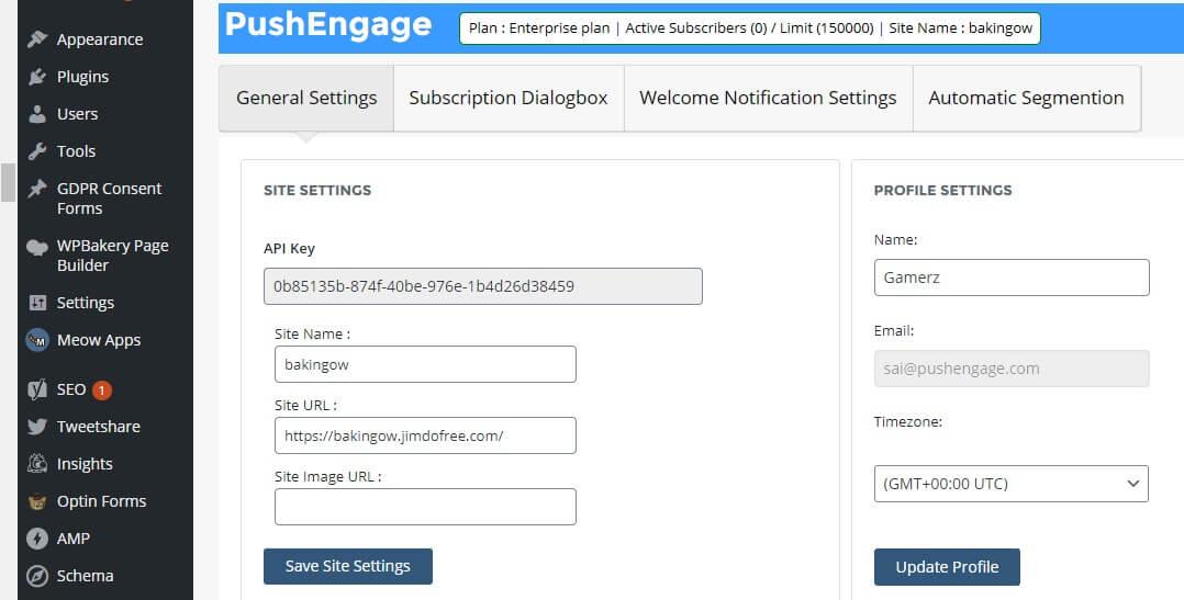 PushEngage WordPress Plugin Settings