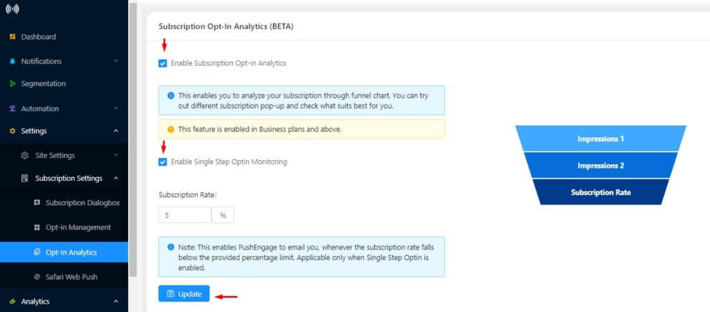 enabling web push subscription opt-in analytics
