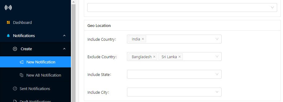 exclude segment based on the geo location