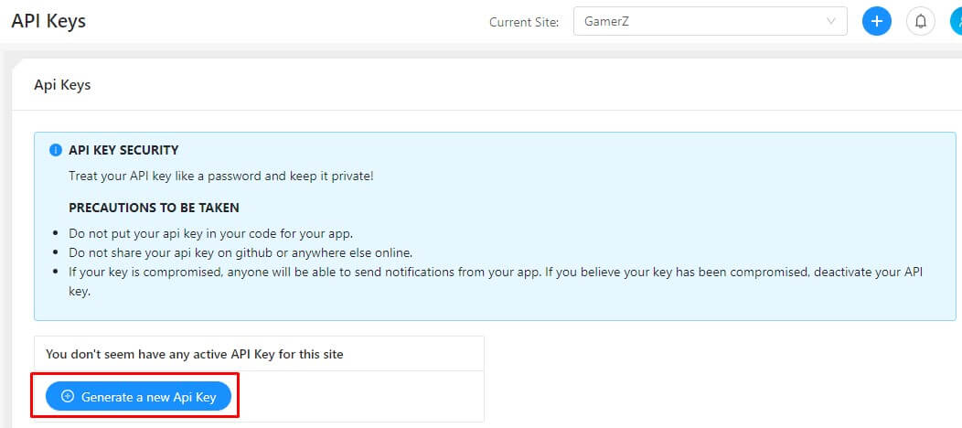 generate new API key for push notification wordpress plugin