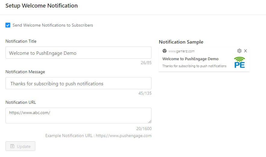 welcome notification settings in web push