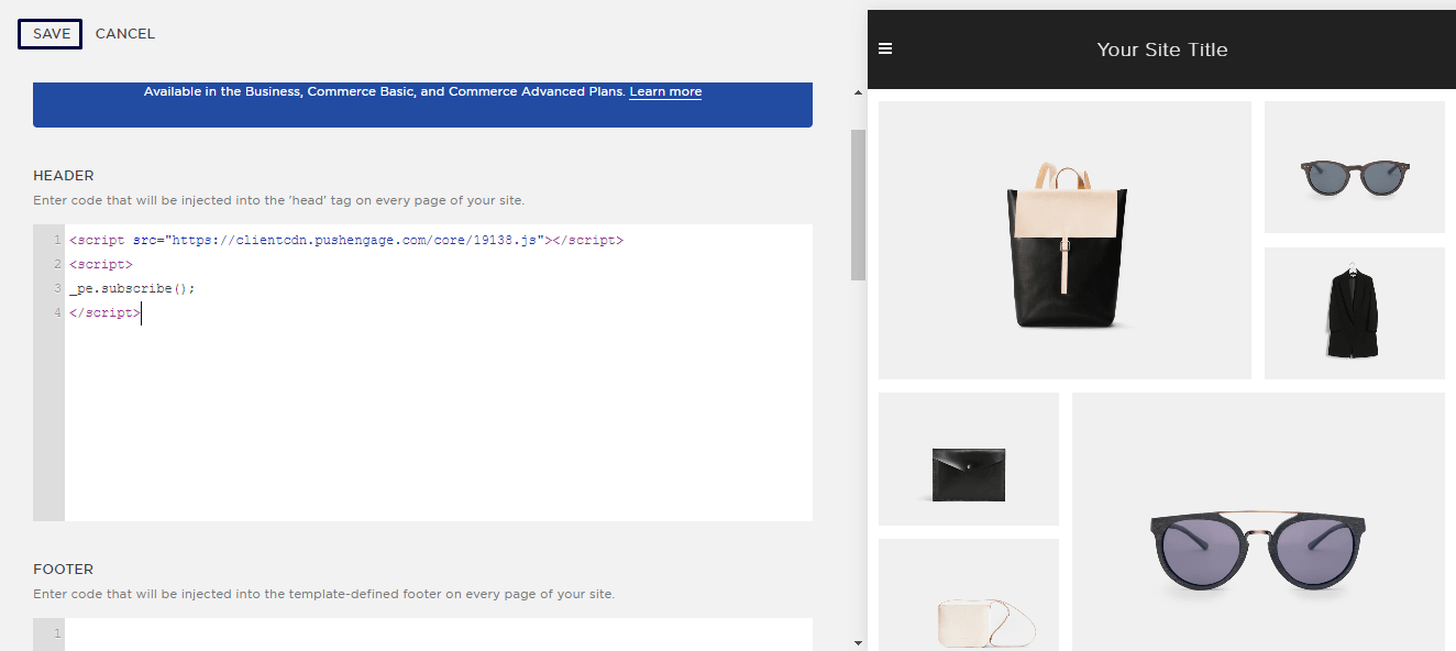 Integrating Push Notification Code in Squarespace website