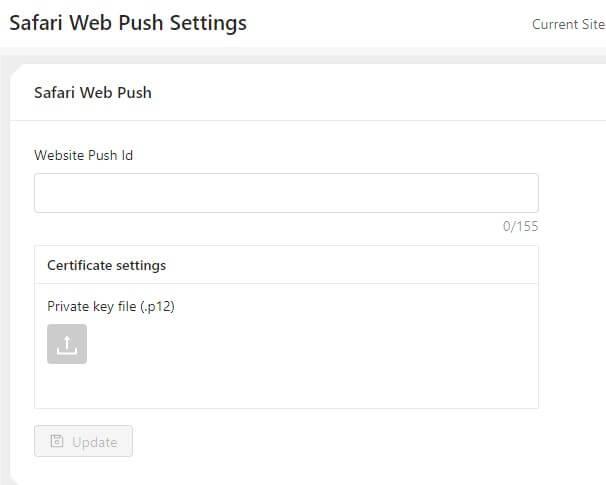 safari settings for web push