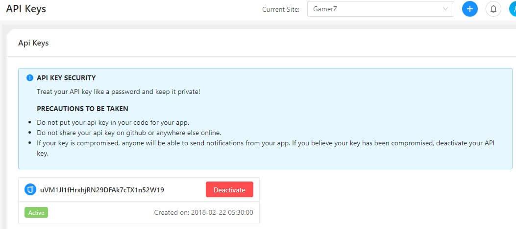 API Key for Push Notification activation