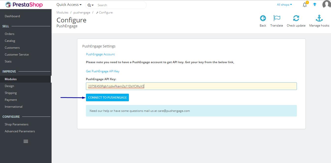configure using API key