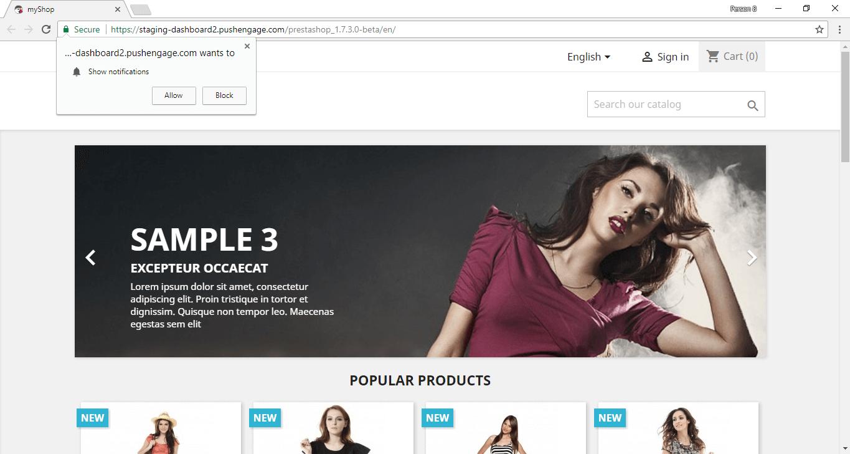 PushEngage web push notification optin on PrestaShop store