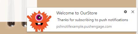 PushEngage notification on bigcommerce website.