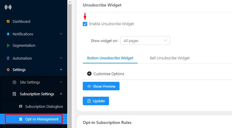 unsubscription option for push subscribers