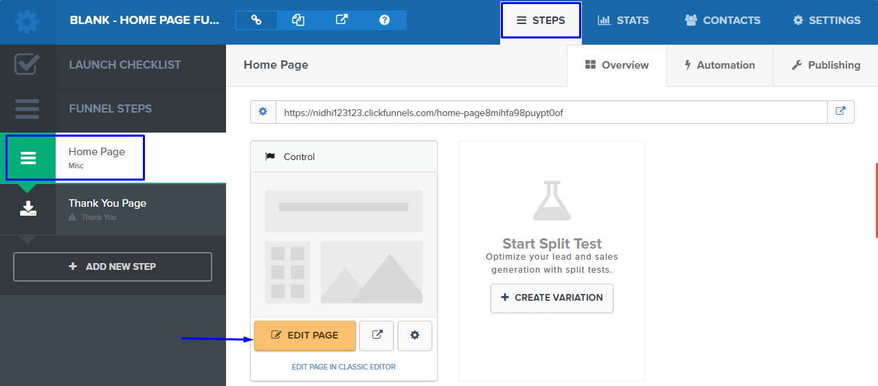login to clickfunnel account and edit the template