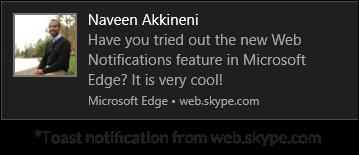 Toast notification from web.skype.com