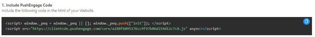 PushEngage code for installation