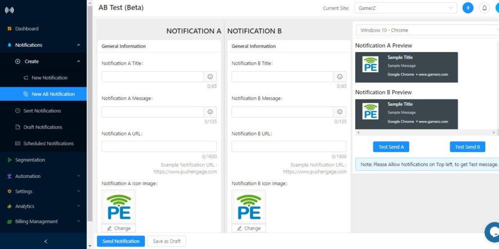 creating ab testing push notification