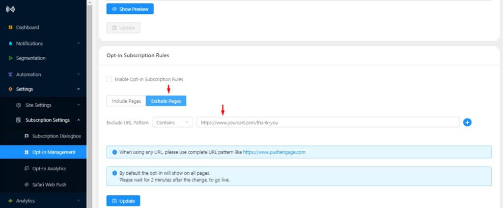 exclude option in web push subscription opt-in
