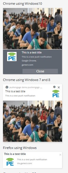 push notification in different browser