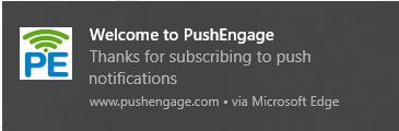 web push notification on Edge