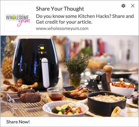 Push Notification to Share kitchen hacks