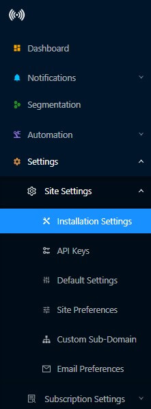 Push Notification installation settings for single step