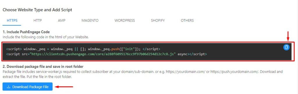 download package file for HTTPS site