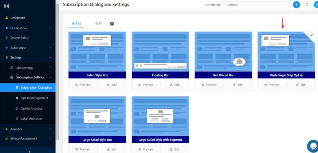 push subscription dialog box settings