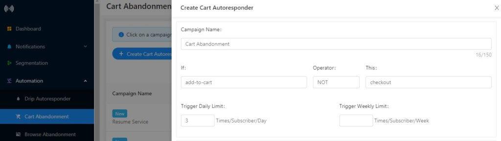 creating cart abandonment campaign