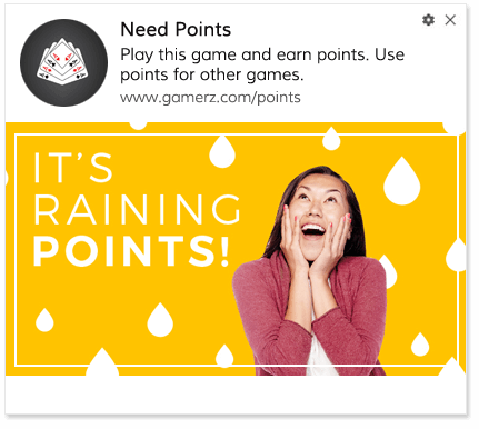 Play game earn points web push notification example