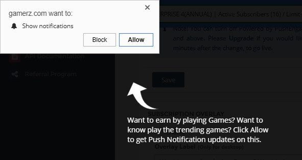 Push subscription overlay for online gaming website