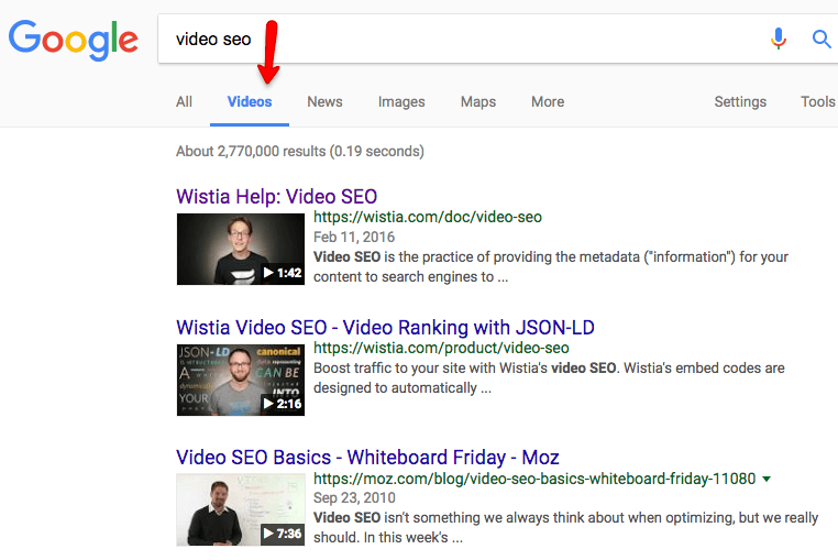 video SEO serp
