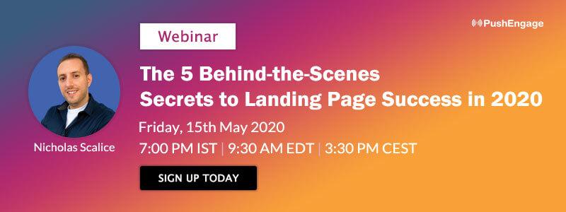 Nicholas Scalice Webinar on secrets to landing page success