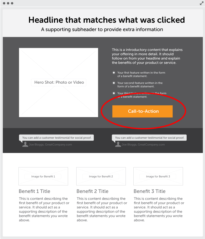 content of landing page