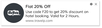 Flash Sale Notification for Travel site