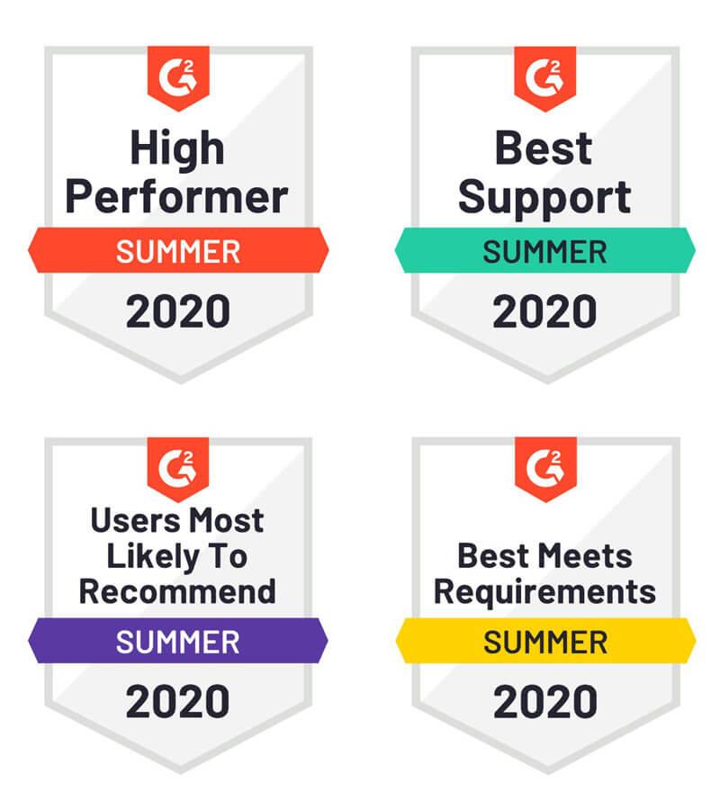 G2Crowd badges 2020