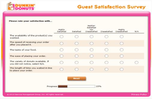 dunkin donut survey