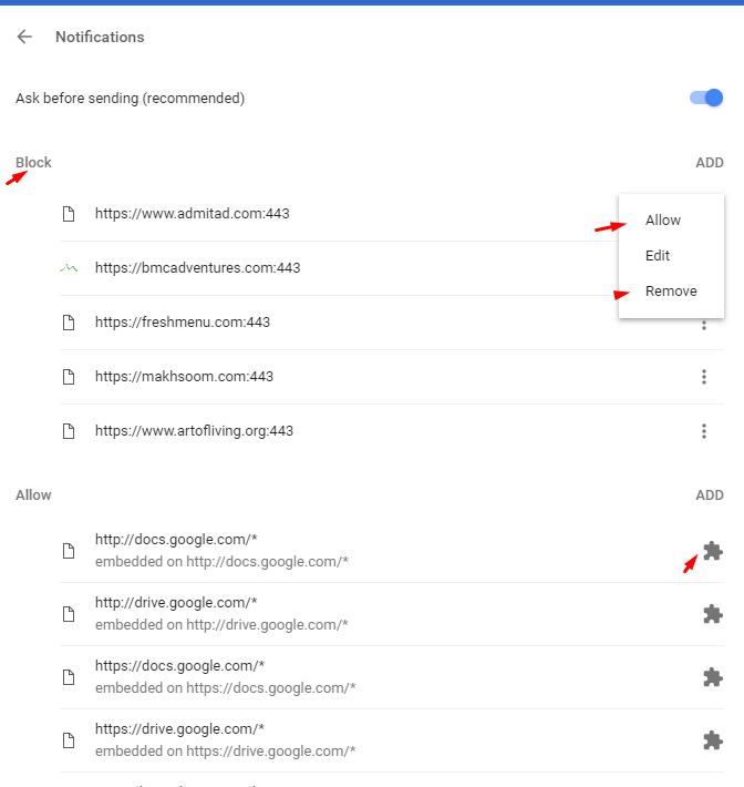 block push notifications in desktop chrome browser