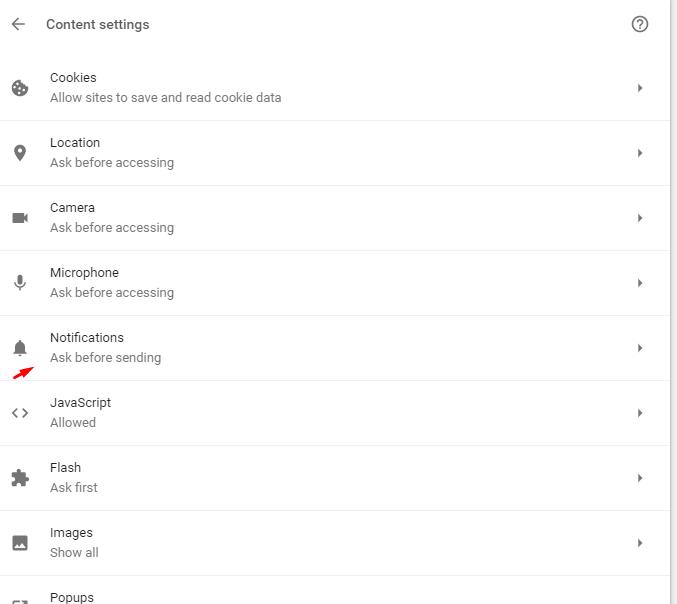 notification settings in desktop chrome browser
