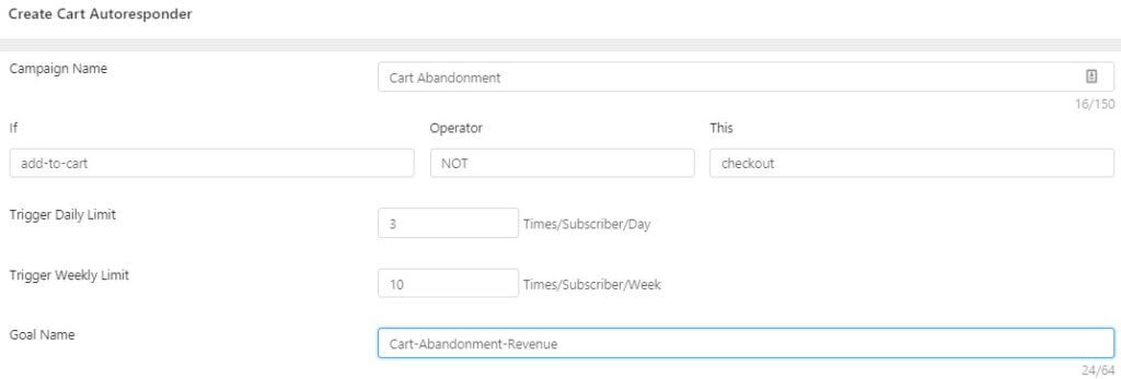 Cart Abandonment Settings done for e-commerce