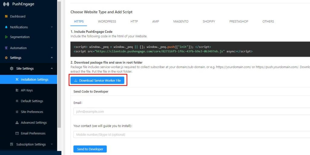 Download Service Worker File for HTTPS WordPress site
